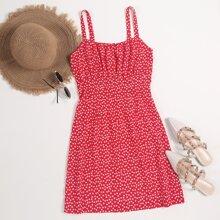 Cami Kleid mit Bluemchen Muster und Ruesche
