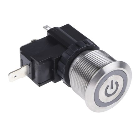 RS PRO Single Pole Single Throw (SPST) Momentary White LED Push Button Switch, IP67, 22.2 (Dia.)mm, Panel Mount, Power (20)