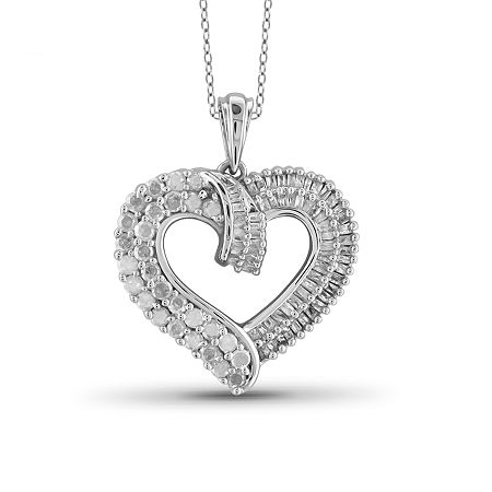 1 CT. T.W. Diamond 10K White Gold Heart Pendant Necklace, One Size , No Color Family