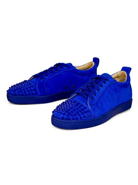 Milanoo Zapatillas de deporte para hombre, cuero de ante, punta redonda, remaches, zapatos de skate con cordones