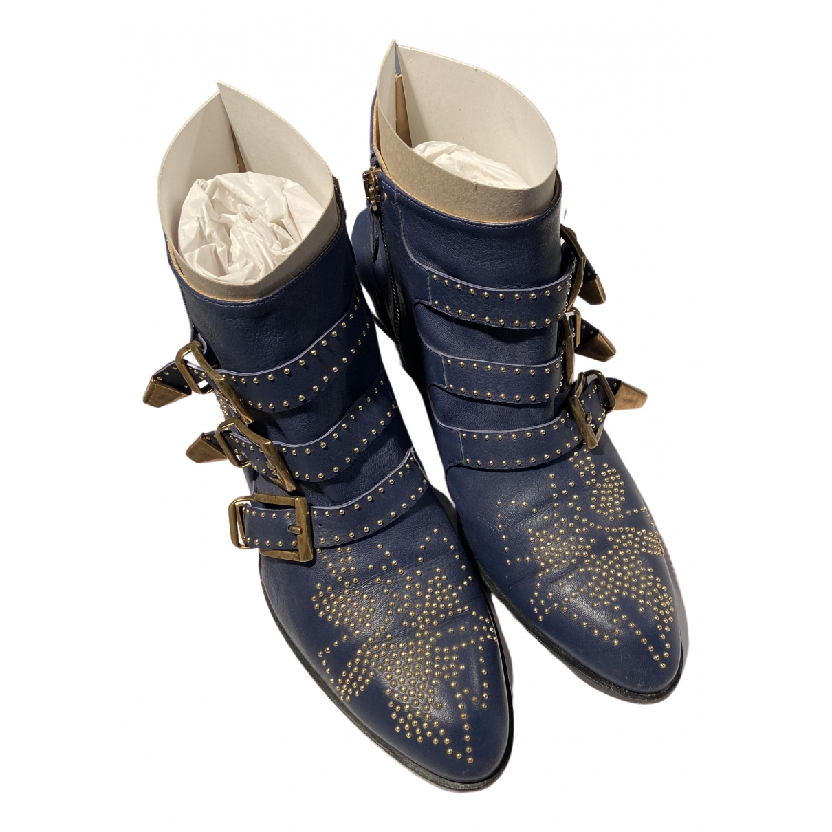 Chloé Susanna Blue Leather Ankle boots for Women 40 EU