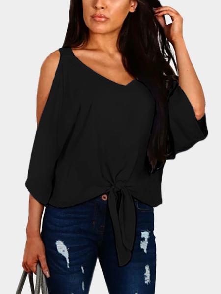 Yoins Black Lace-up Design Cold Shoulder Bat Sleeves Top