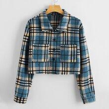 Bluse mit Kragen, einreihigen Knopfen, Taschen vorn und Karo Muster