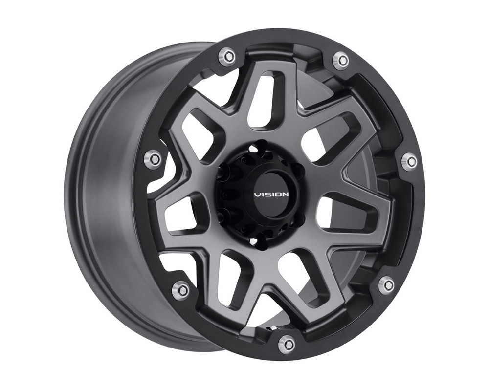 Vision Creep Satin Black w/Satin Black Ring Wheel 20x10 8x180 -25