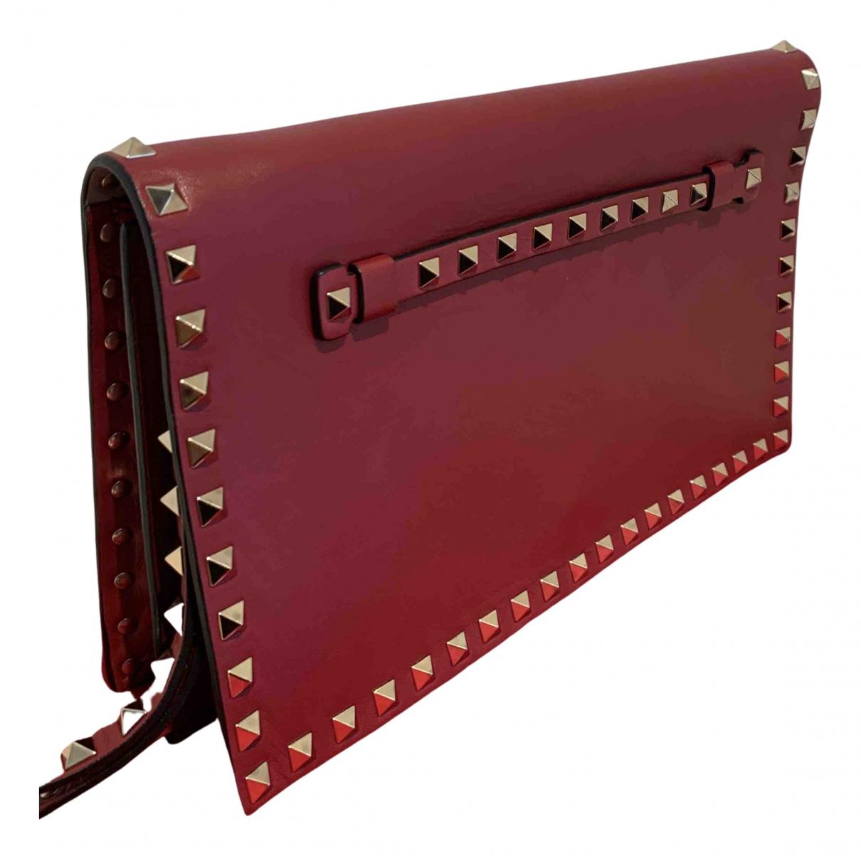 Valentino Garavani Rockstud Burgundy Leather Clutch bag for Women N