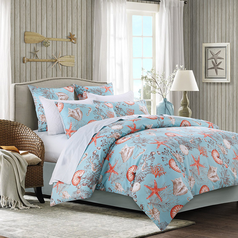 Fitted Sheet Reactive Printing Four-Piece Plant Set Duvet Cover Set Polyester Bedding Sets 2 Pillowcases