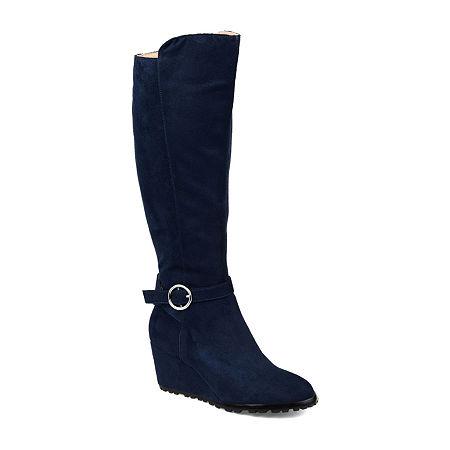 Journee Collection Womens Veronica-Xwc Dress Wedge Heel Zip Boots, 7 Medium, Blue