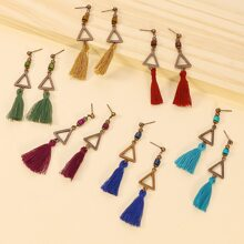 6pairs Tassel Drop Earrings
