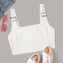Buckled Grommet Cropped Tank Top