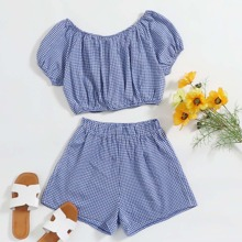 Gingham Crop Top With Shorts