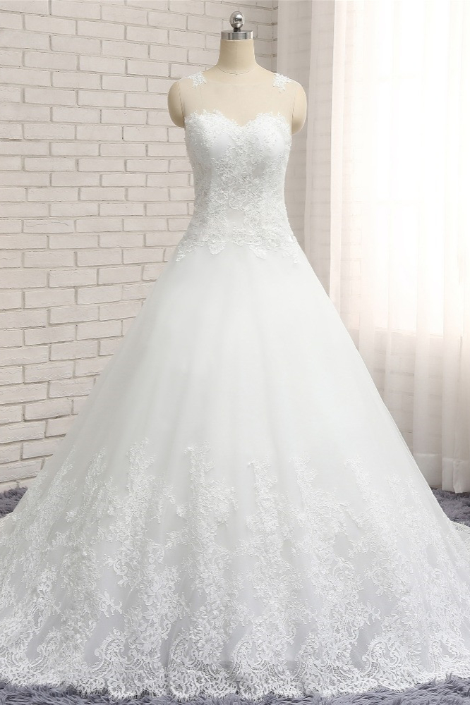 BMbridal Chic White A-line Tulle Wedding Dresses Jewel Sleeveless Ruffle Bridal Gowns With Appliques On Sale