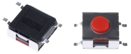 APEM Red Button Tactile Switch 50 mA @ 12 V dc (10)