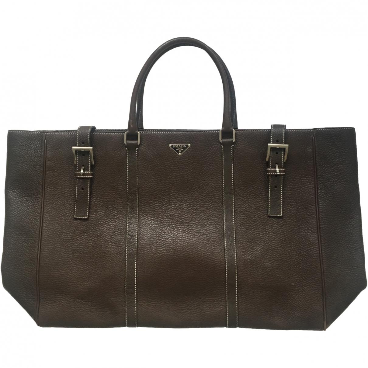 Prada \N Brown Leather bag for Men \N