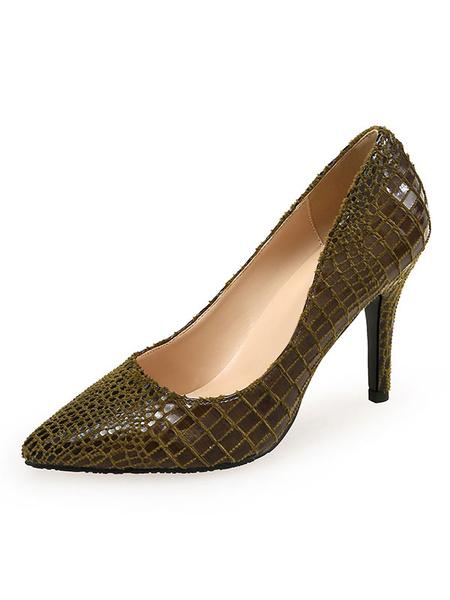 Milanoo Women's High Heels Animal Print Pointed Toe Stiletto Heel Chic Pumps