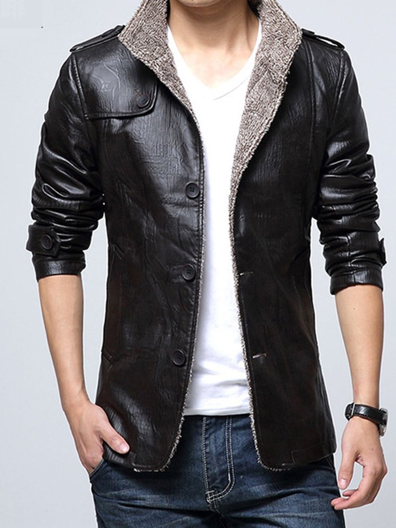 Ericdress Plain Standard Stand Collar Single-Breasted Slim Leather Jacket