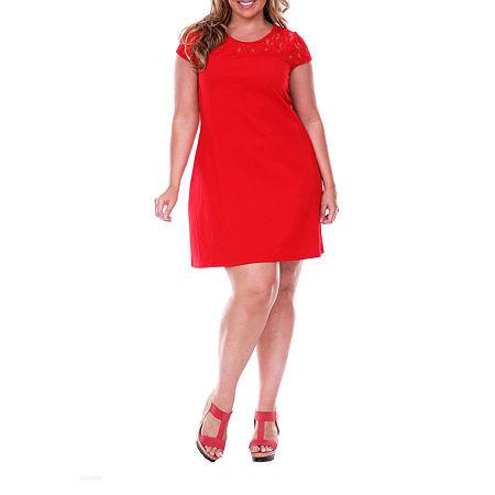 White Mark-Plus Short Sleeve Sheath Dress, 3x , Red