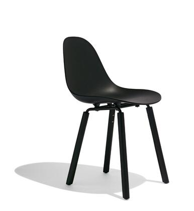 TA Collection TO-1711B-1501BB Upholstered Side Chair/YI Base Black & Black Oak/Black