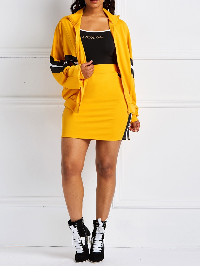 Ericdress Patchwork Color Block Coat and Bodycon Skirt Women's Two Piece Sets