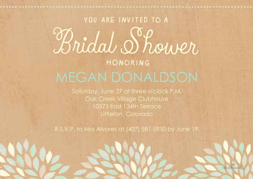 Wedding Shower Invitations 5x7 Cards, Premium Cardstock 120lb with Scalloped Corners, Card & Stationery -Florals on Wood Shower