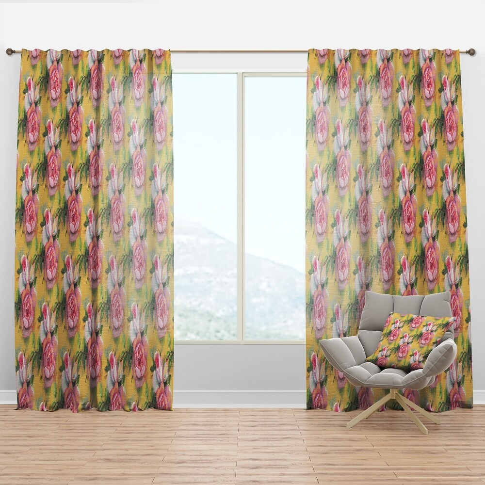 Designart 'Hand-drawn Pink Watercolor Roses.' Mid-Century Modern Curtain Panel (50 in. wide x 108 in. high - 1 Panel)