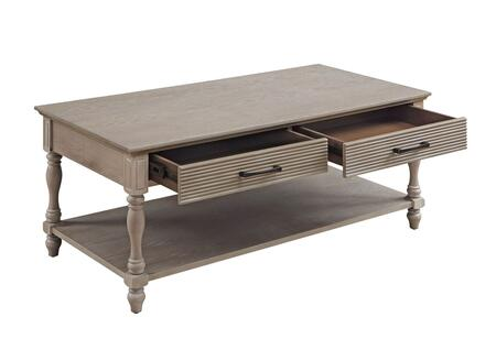 BM211091 Wooden Coffee Table with 2 Drawers and Molded Design  Antique