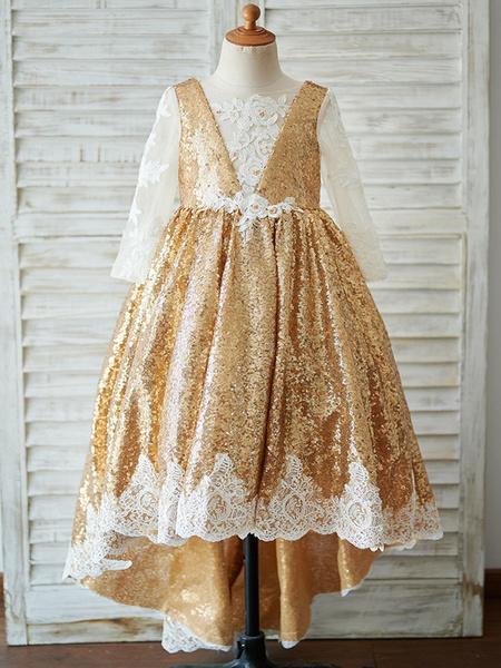 Milanoo Vestidos de niña de flores Con cuentas Mangas largas Cuello joya Luz Oro Vestidos de fiesta para niños