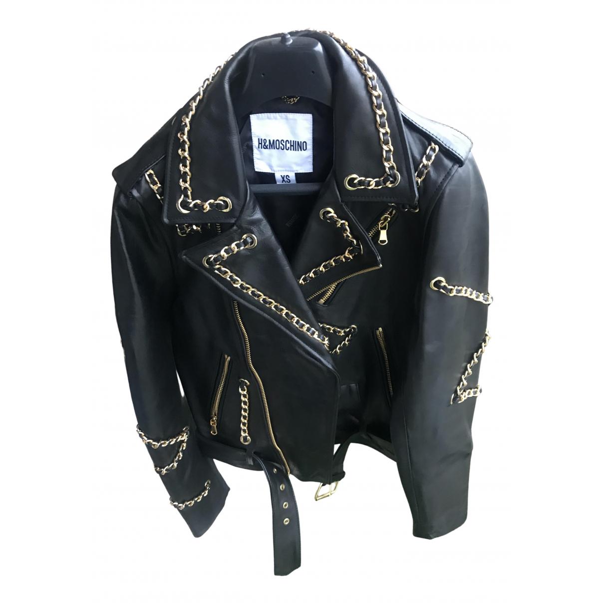 Moschino For H&m - Veste   pour femme en cuir - noir