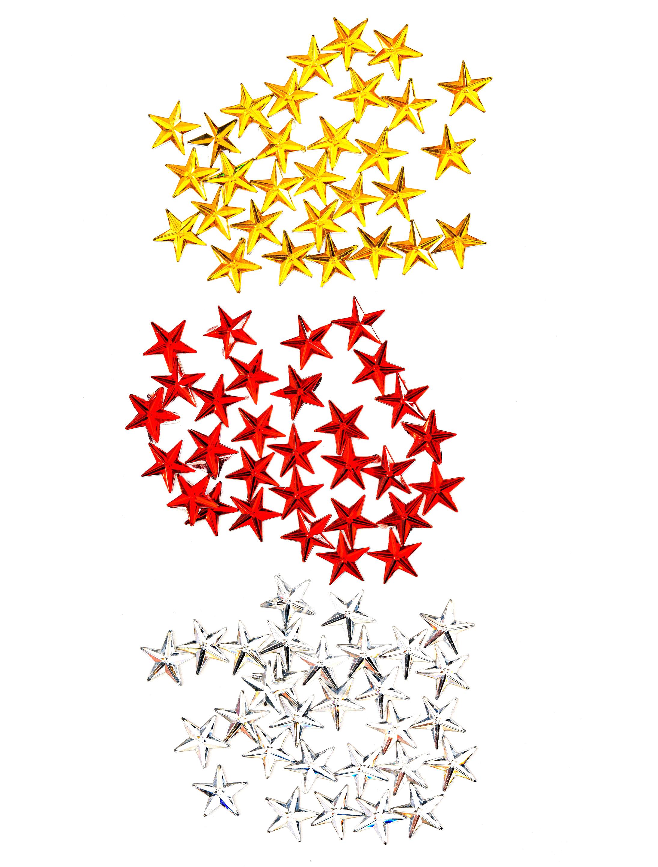 Kostuemzubehor Strasssteine Sterne rot/silber/gelb 90 Stk.