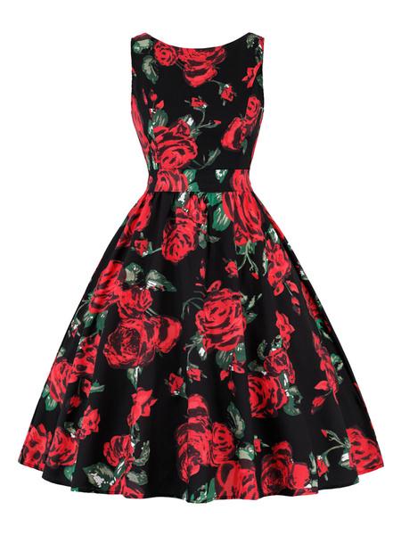 Milanoo Vestido vintage Vestido sin mangas con cuello redondo y joya de mujer color 1950