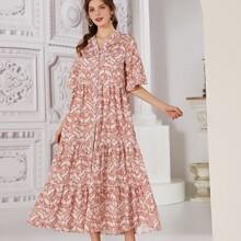 Kleid mit Paisley Muster und Rueschenbesatz