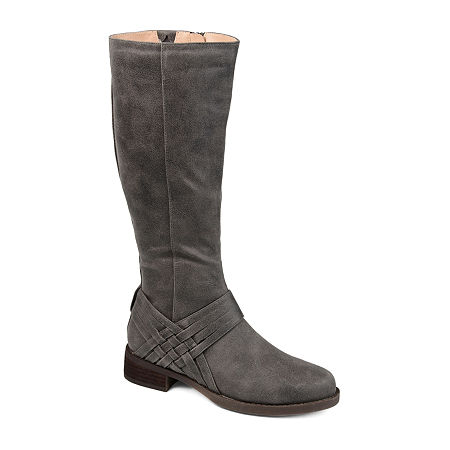 Journee Collection Womens Meg Stacked Heel Over the Knee Boots, 7 1/2 Medium, Gray