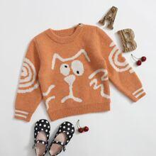Toddler Girls Cartoon Graphic Singe Button Sweater