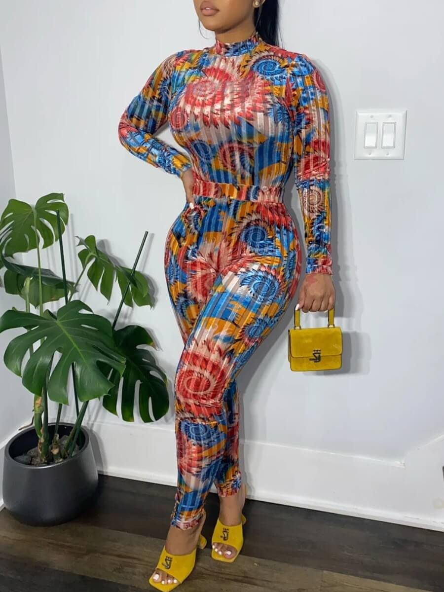 LW Lovely Trendy Turtleneck Print Skinny Blue One-piece Jumpsuit
