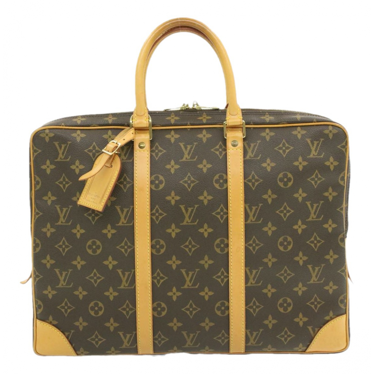 Louis Vuitton Porte Documents Voyage Brown Cloth handbag for Women N
