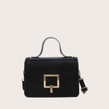 Metal Lock Flap Satchel Bag