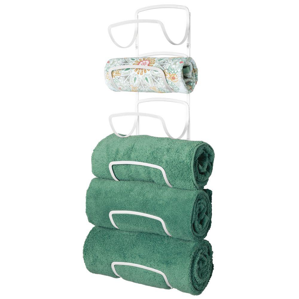 6-Tier Wall Mount Bathroom Towel Holder/ Storage Rack in White, 6.9