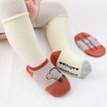2 pares calcetines de bebe con estampado de dibujos animados