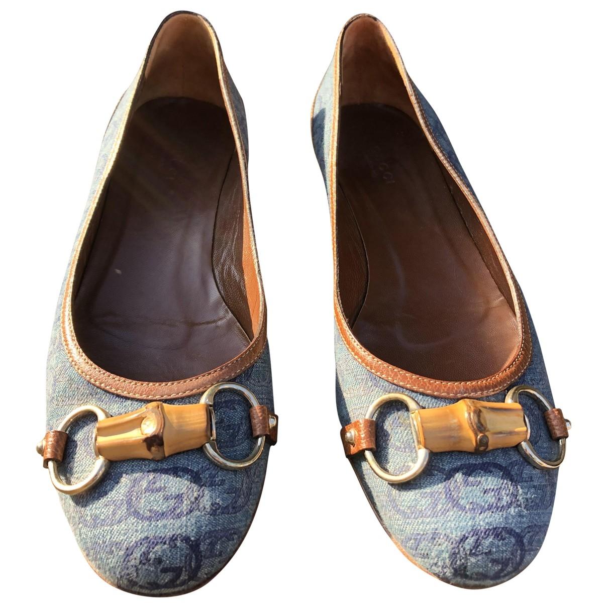 Gucci - Ballerines   pour femme en toile - bleu