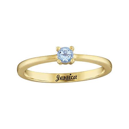 Personalized Girls Round Birthstone Ring, 5 , Yellow