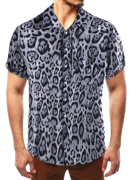 Yoins Men Casual Black Leopard Classic Collar Shirt