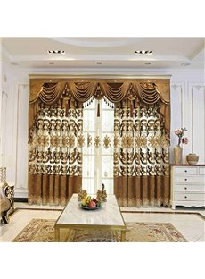 Luxurious Elegant Golden Embroidered Hollowed-out Black Out Ochre Curtains 2 Panel Set 84 Inches Wide and 84 Inches Moderate Shading Effect Ever Fadin