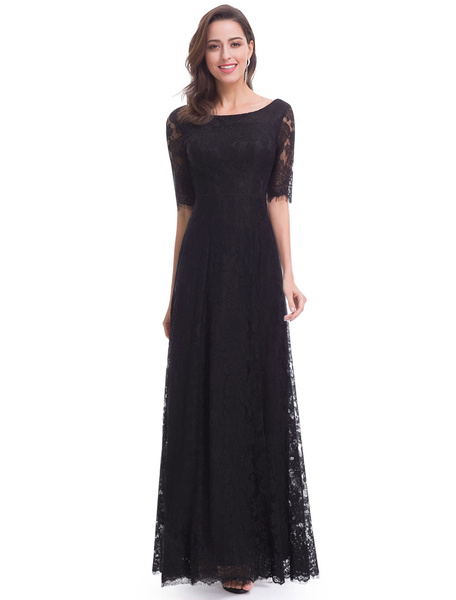 Milanoo Black Evening Dresses Lace Half Sleeve Illusion Mother Of The Bride Dresses A Line Floor Length Formal Dress