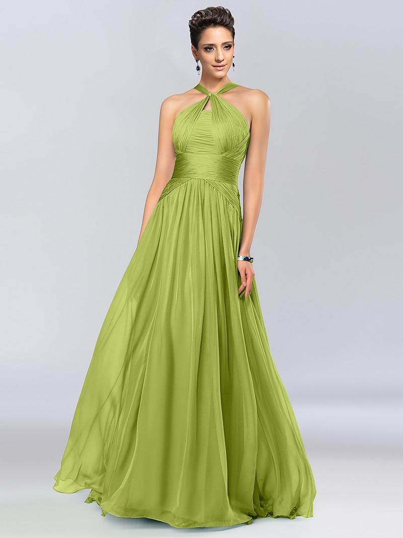 A-Line Halter Floor-Length Evening Dress