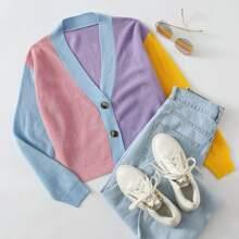 Button Placket Colorblock Cardigan