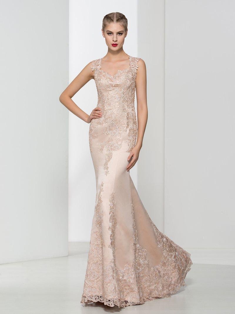 Ericdress Straps Appliques Mermaid Lace Evening Dress