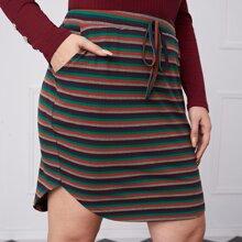 Falda de rayas tejida de canale bajo curvo de cintura con nudo