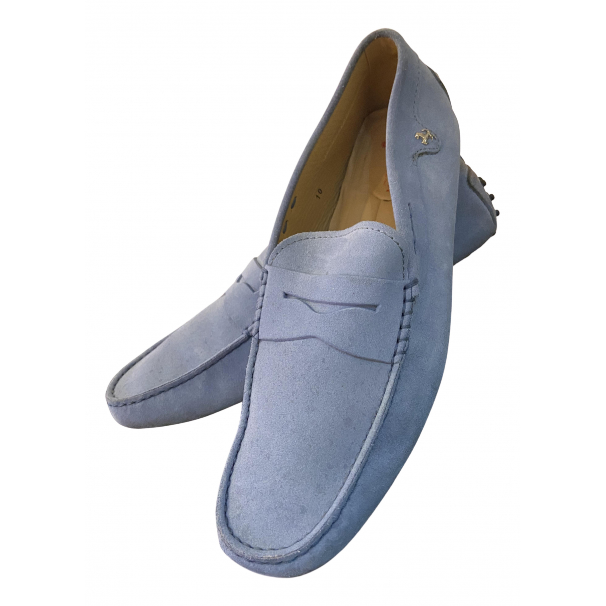 Tod's Gommino Blue Suede Flats for Men 10 UK