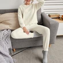 Flannel Solid Drop Shoulder PJ Set