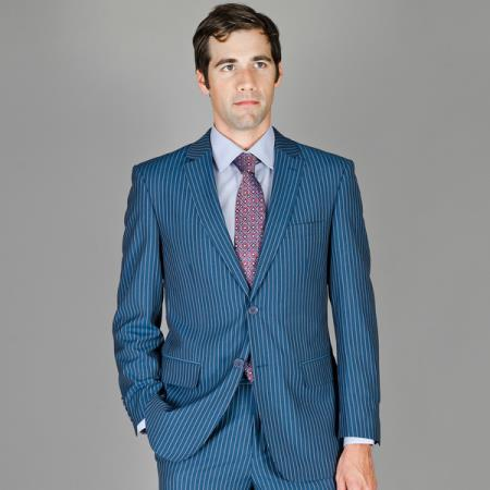 Mens Blue Stripe Wool and Silk Blend Suit