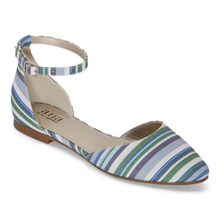 a.n.a Womens Darell Buckle Closed Toe Ballet Flats, 7 Medium, Blue